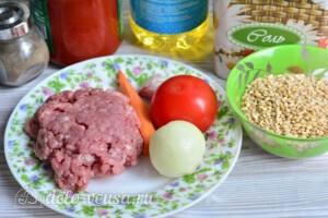 Перловка с фаршем и овощами: Ингредиенты