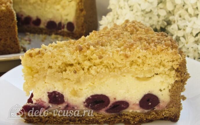 Пирог Блаженство с творогом и вишней