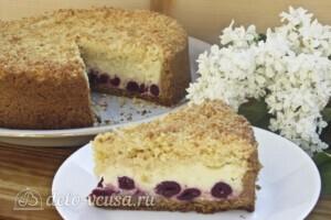 Пирог Блаженство с творогом и вишней: фото к шагу 18