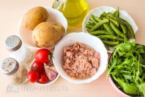 Салат с тунцом, молодым картофелем и зеленой фасолью: Ингредиенты