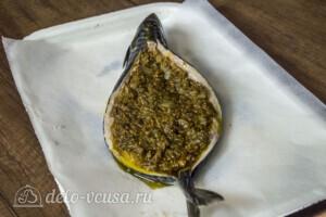 Скумбрия-лодочка с овощами и соусом Песто: фото к шагу 4.