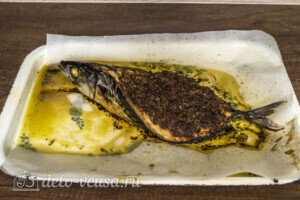 Скумбрия-лодочка с овощами и соусом Песто: фото к шагу 5.