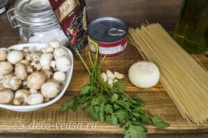 Спагетти с тунцом и грибами за 20 минут: Ингредиенты