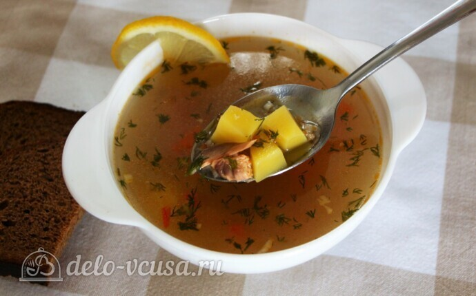 Наваристый рыбный суп с пшеничной крупой