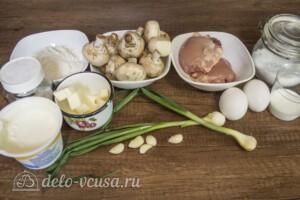 Киш с курицей и шампиньонами: Ингредиенты