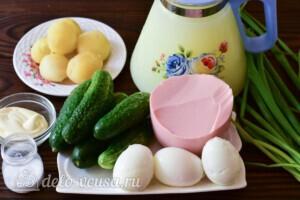Окрошка на сыворотке с вареной колбасой: Ингредиенты