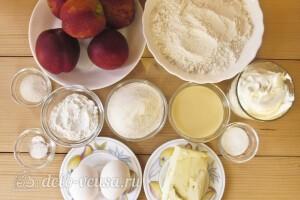 Пирог с персиками и сметанной заливкой: Ингредиенты