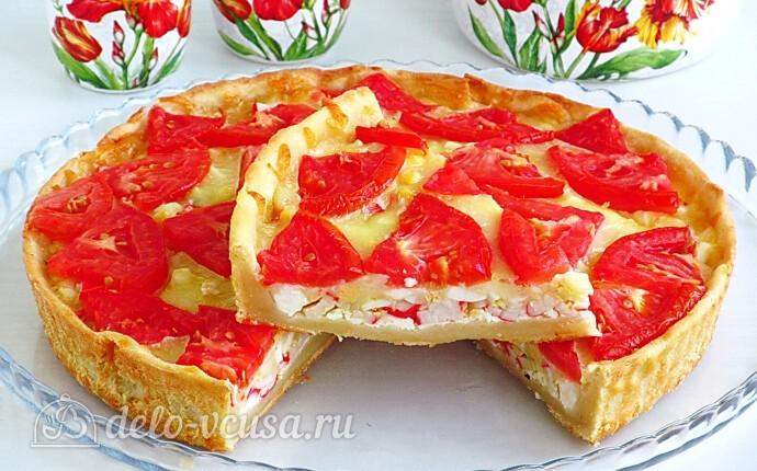 Творожная пицца с крабовыми палочками и фетой