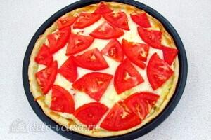 Творожная пицца с крабовыми палочками и фетой: фото к шагу 16.