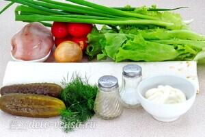 Рулет из лаваша с курицей и овощами: Ингредиенты