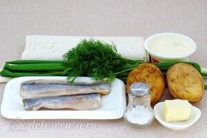 Рулет из лаваша с сельдью и картошкой: Ингредиенты