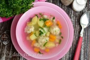 Суп с рыбными фрикадельками из минтая: фото к шагу 12.