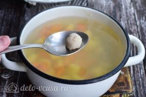 Суп с рыбными фрикадельками из минтая: фото к шагу 8.