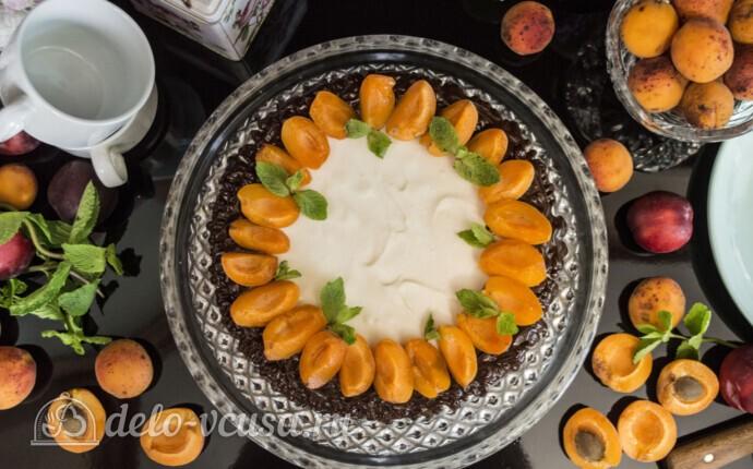 Творожный торт-суфле с абрикосами