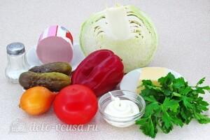 Овощной салат с колбасой: Ингредиенты