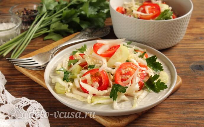 Рецепт салат из пекинской капусты с огурцами и помидорами