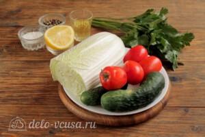 Салат из пекинской капусты с огурцами и помидорами: Ингредиенты