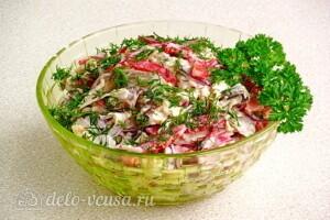 Овощной салат с сельдереем, грибами и сыром: фото к шагу 9.