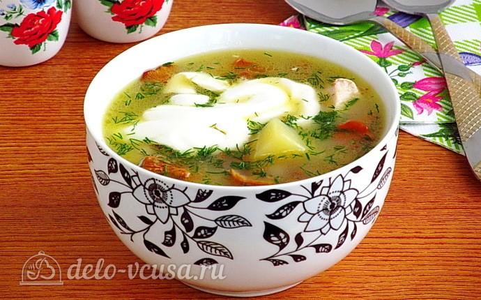 Суп с лисичками и курицей
