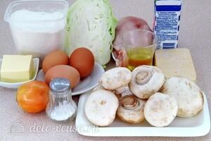 Заливной пирог с курицей, грибами и капустой: Ингредиенты