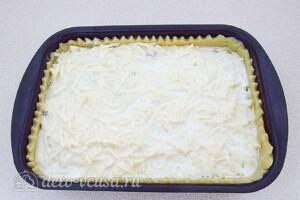 Заливной пирог с курицей, грибами и капустой: фото к шагу 24.