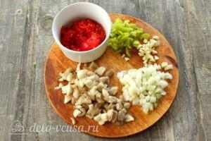 Баклажаны, фаршированные грибами и овощами: фото к шагу 5.