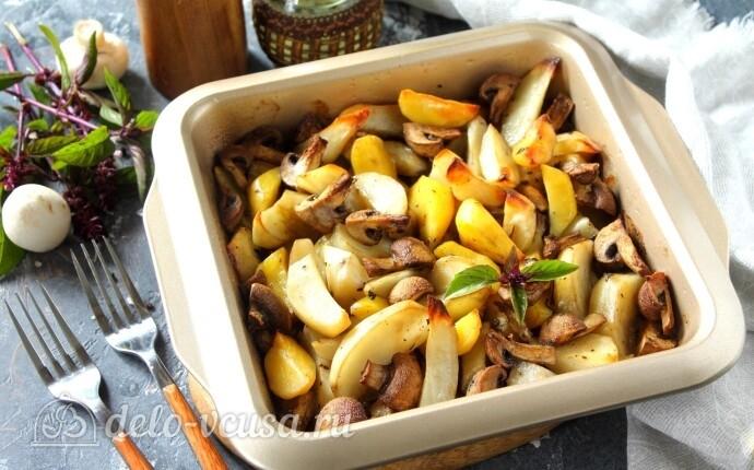 Картофель по-деревенски с шампиньонами