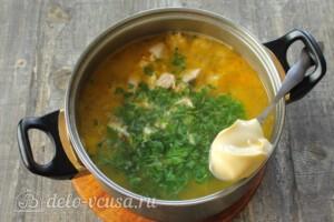 Тыквенный суп с курицей и сыром: фото к шагу 10.