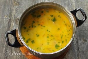 Тыквенный суп с курицей и сыром: фото к шагу 11.