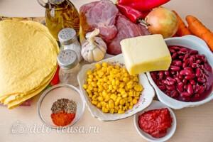 Кесадилья с фаршем и фасолью: Ингредиенты