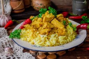 Курица карри с рисом и сливками: фото к шагу 9.