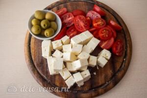 Паста-салат с овощами и сыром фета: фото к шагу 7.