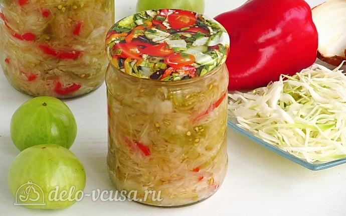 Салат из зелёных помидоров с капустой на зиму