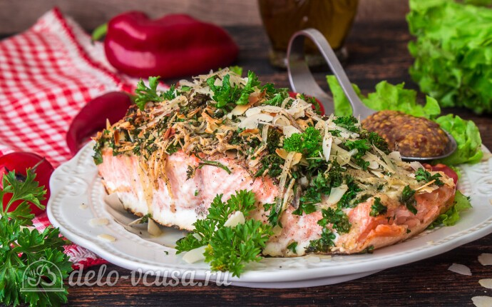 Рецепт запеченный лосось с сырно-ореховой корочкой