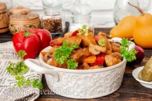 Жаркое со свининой, тыквой и овощами: фото к шагу 10.