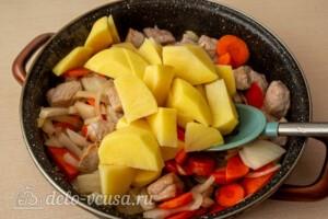 Жаркое со свининой, тыквой и овощами: фото к шагу 5.