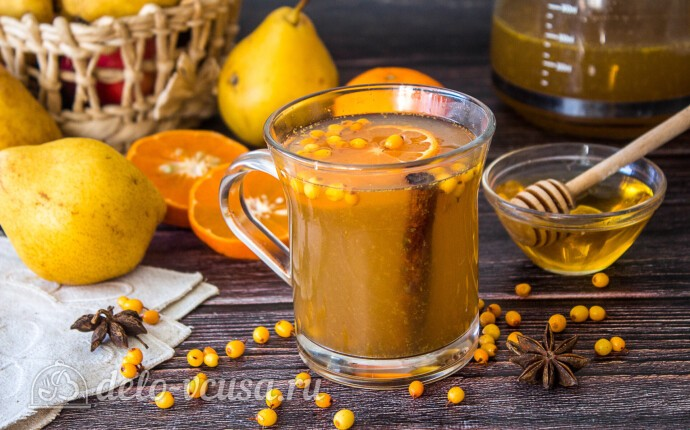 Облепиховый чай с грушей и апельсином