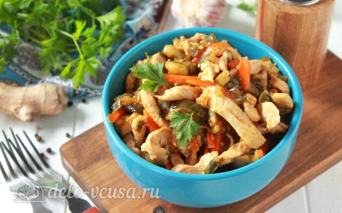Рецепт салат с баклажанами и курицей