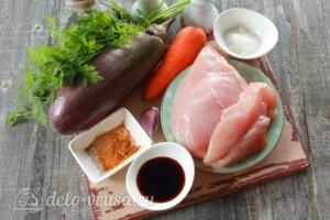 Салат с баклажанами и курицей: Ингредиенты