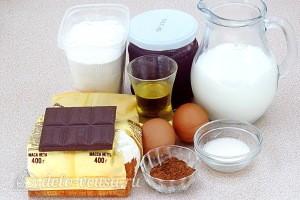 Шоколадный блинный торт с творогом: Ингредиенты