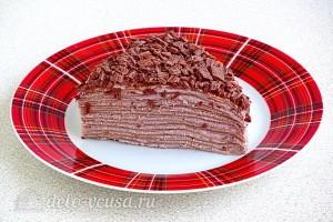 Шоколадный блинный торт с творогом: фото к шагу 19.