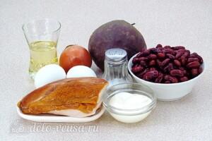 Салат из свёклы с фасолью и копчёной курицей: Ингредиенты