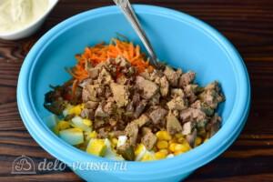 Салат с печенью и морковью по-корейски: фото к шагу 3.