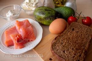Тосты с авокадо и семгой: Ингредиенты