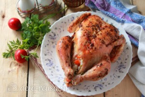 Курица, фаршированная рисом и овощами: фото к шагу 11.