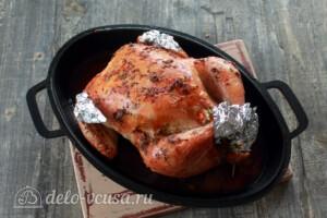 Курица, фаршированная рисом и овощами: фото к шагу 9.