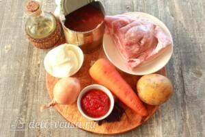 Овощное рагу с фасолью и мясом: Ингредиенты