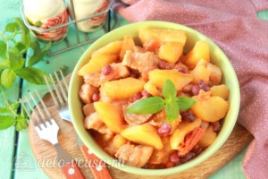 Овощное рагу с фасолью и мясом: фото к шагу 10.