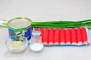Фаршированные крабовые палочки с консервами и рисом: Ингредиенты