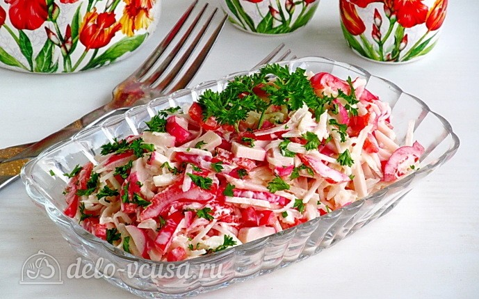 Рецепт крабовый салат с черной редькой